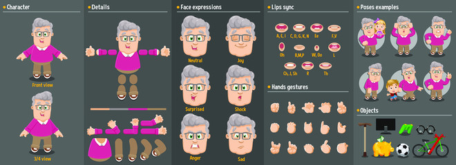 Cartoon grandfather, old man constructor for animation. Parts of body: legs, arms, face emotions, hands gestures, lips sync. Full length, front, three quater view. Set of ready to use poses, objects.