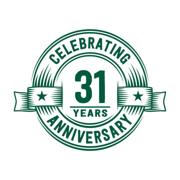 31 years logo design template. 31st anniversary vector and illustration.
