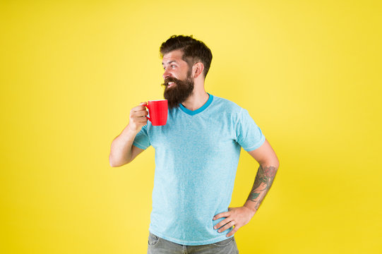 What a great morning. good morning coffee. Morning tea cup for breakfast. break for lunch. sip of inspiration. Caucasian brutal hipster drinking beverage. hot drink mug. man casual style drink tea