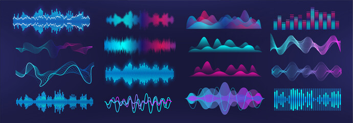 Fotobehang Abstract wave Sound waves equalizer. Frequency audio waveform, music wave, voice graph signal in futuristic style HUD. Microphone voice control set and sound recognition. Audio waves vector set