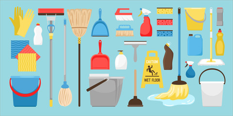 Cleaning and disinfection tools. Clean floor, vector sanitary and hygiene products, broom and mop, bucket and gloves household equipment items isolated on white background