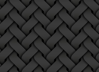 Black seamless pattern of entwined curve bands. Vector dark texture illustration.
