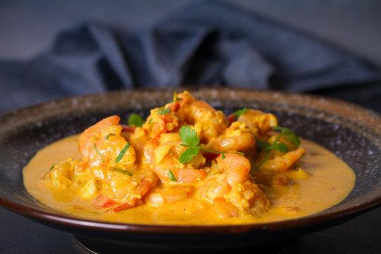 Bowl of shrimp prawn curry