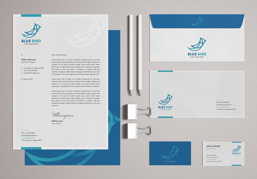 Blue and White Stationery Set with Bird Illustrations