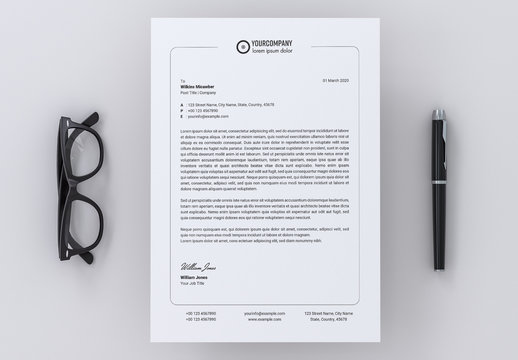 Letterhead Layout with Thin Border Element