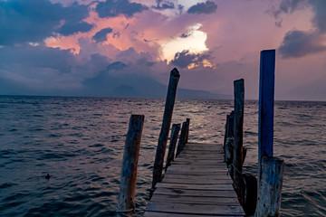 Pier at Lago de Atitlán at sunset