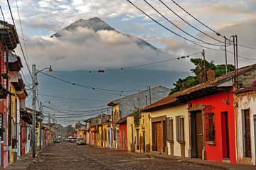 Morning light in the streets of Antigua, Guatemala