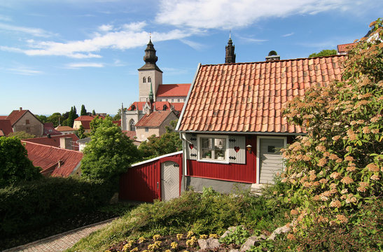Small adorable cottage in the medieval town of Visby.