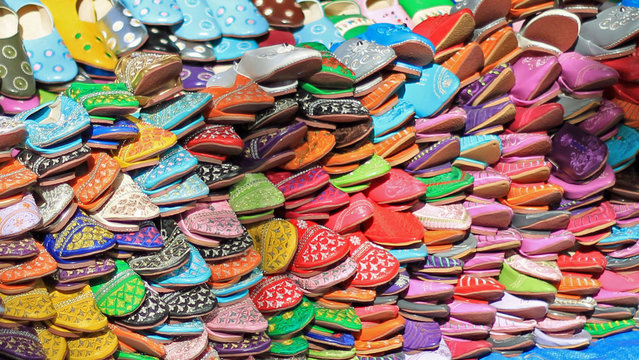 Full Frame Shot Of Colorful Babouches For Sale At Market
