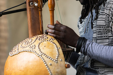 Fototapeta Midsection of male artist with dreadlocks wearing bracelets while performing traditional wooden harp kora during event with focus on foreground obraz