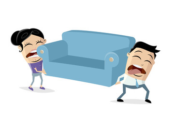 funny asian cartoon couple is moving and has to lift a heavy sofa