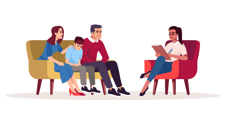 Family therapy session semi flat RGB color vector illustration. Parenting difficulties. Appointment with psychologists. Psychotherapy. Psychology consultation. Isolated cartoon character on white