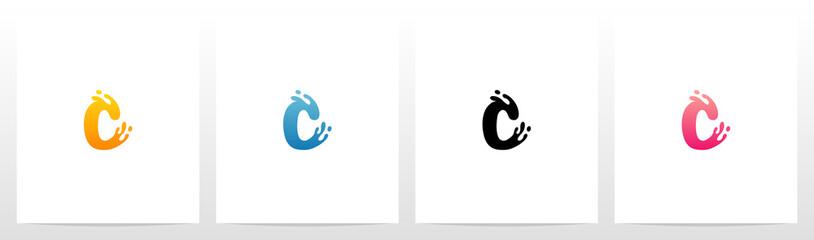 Water Splash On Letter Logo Design C