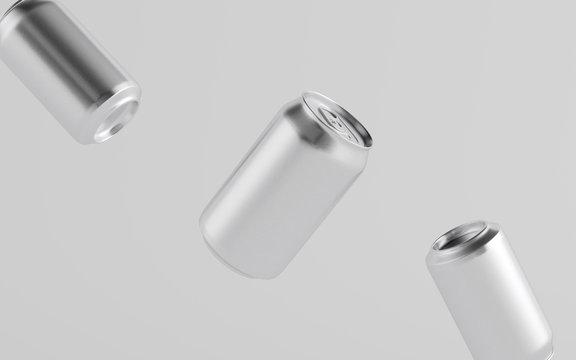 12 oz. / 350ml Aluminium Can Mockup - Three Floating Cans.  3D Illustration