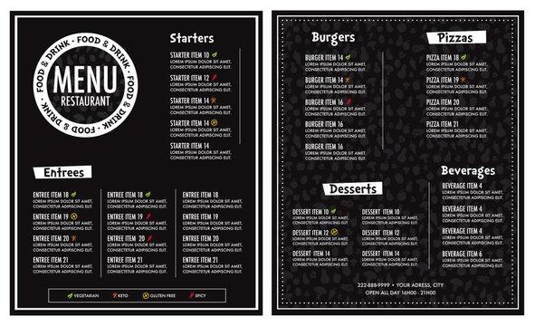 Restaurant menu modern design layout