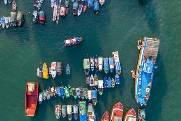 Aerial view of Aberdeen Typhoon Shelters and Ap Lei Chau, Hong Kong Fotomurales