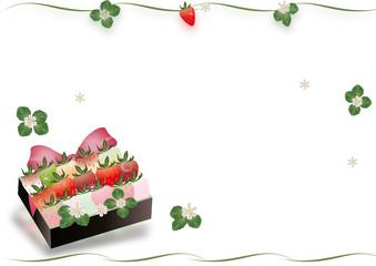 いちごのプレゼントに可愛いピンクのリボンカラフル苺のイラストA4横スタイル背景素材