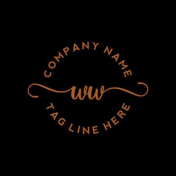 Initial Letter WW Signature Handwriting and Elegant Logo Design Vector