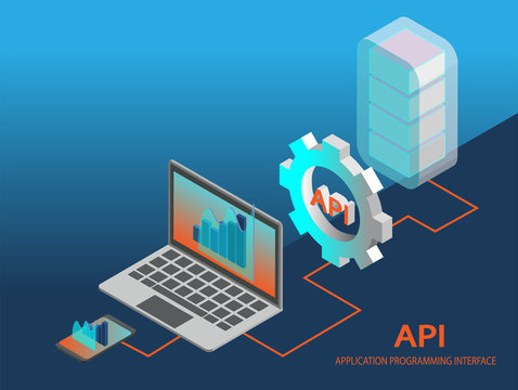 API application programming interface concept vector. Isometric illustration.