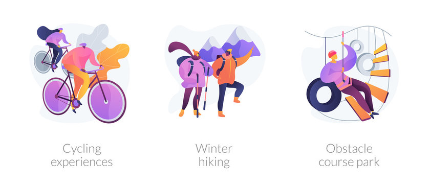 Outdoor sport activities icons set. Cycling experiences, winter hiking, obstacle course park metaphors. Training, exercising, trekking. Vector isolated concept metaphor illustrations