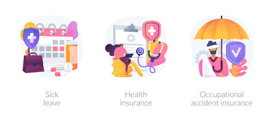 Obraz Workplace guarantees and perks. Financing employees diseases treatment. Sick leave, health insurance, occupational accident insurance metaphors. Vector isolated concept metaphor illustrations - fototapety do salonu