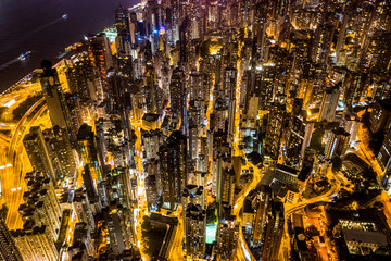 Fotomurales - Aerial view of Hong Kong at night