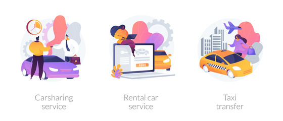City transport usage. Rent a car agency. Sharing economy trends in urban traffic. Carsharing service, rental car service, taxi transfer metaphors. Vector isolated concept metaphor illustrations