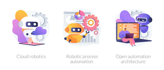 Artificial intelligence software. Automated database management. Cloud robotics, robotic process automation, open automation architecture metaphors. Vector isolated concept metaphor illustrations