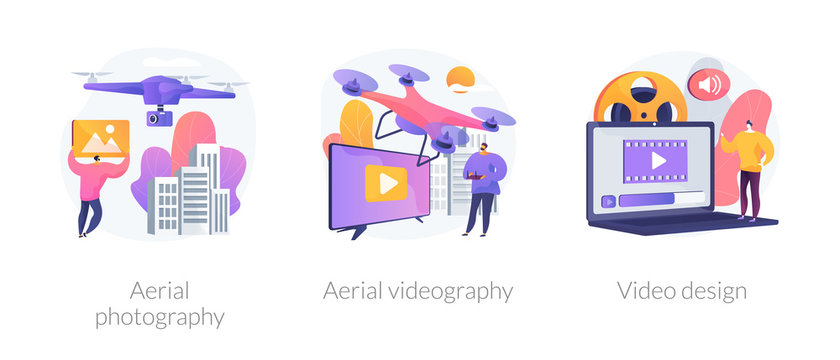 Using drones in video footage creation. Trendy UAV devices for birds view photographs. Aerial photography, aerial videography, video design metaphors. Vector isolated concept metaphor illustrations.