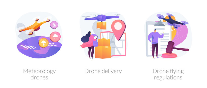 Multifunctional quadrotors for industrial usage. Quadcopters in postal service. Meteorology drones, drone delivery, drone flying regulations metaphors. Vector isolated concept metaphor illustrations
