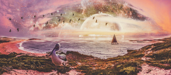 Sailboat in the ocean with pelican on shore and alien planet on the horizon at sunset - fantasy landscape