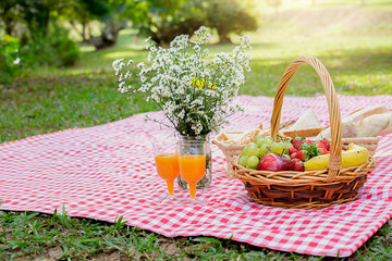 Fotobehang Food And Juice On Red Picnic Blanket Over Grass At Park