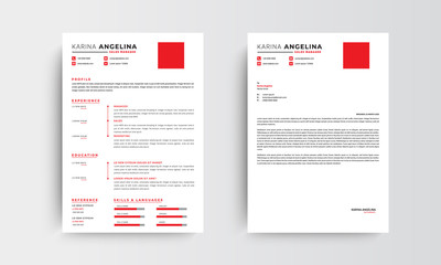 Professional minimalist CV resume and letterhead template design , red and orange  - vector