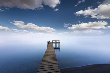 pier on the lake. Golyazi village, Bursa, Turkey.