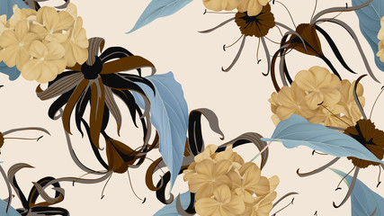 Floral seamless pattern, various flowers and leaves in brown and blue tones on bright brown, vintage style