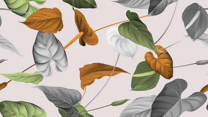 Floral seamless pattern, various color of Anthurium flowers with leaves in blue tone on bright red, vintage style