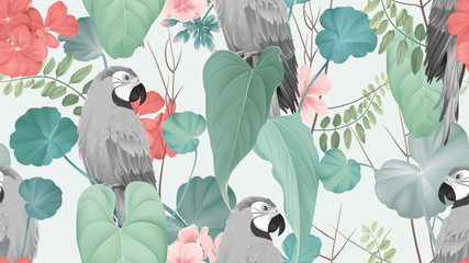 Floral seamless pattern, macaw with various leaves and Pelargonium zonale flowers on bright green