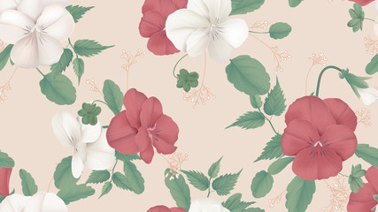 Floral seamless pattern, red and white pansy flowers with leaves on bright red