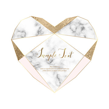 Heart marble polygonal frame with gold glitter triangles, geometric elements and diamond shape.