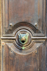 Italy, Sicily, Trapani Province, Trapani. A brass door knocker in the shape of a dog's head, in the city of Trapani.