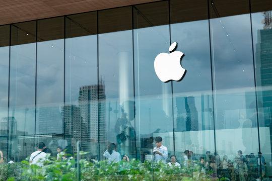 Bangkok, Thailand - November 10, 2018: Apple logo at Apple Store Iconsiam in Bangkok, Thailand