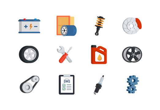 Car service maintenance icon set. Auto repair. Automobile parts shop. Automotive service symbols. Vector illustratio in flat style. Isolated on white background.