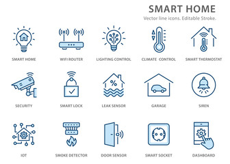 Smart home flat line icon set. Vector illustration. Editable stroke.