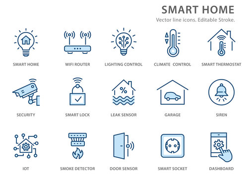 Smart home flat line icon set. Vector illustration. Editable stroke.