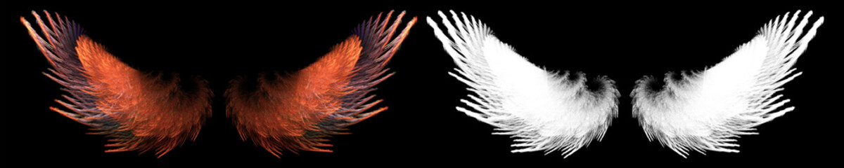 fantasy red bird wing with white clipping mask Wall mural