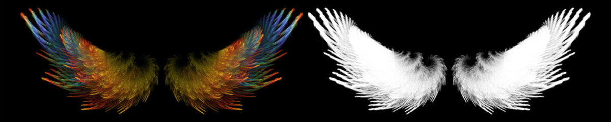 fantasy colorful bird wing with white clipping mask Fototapete