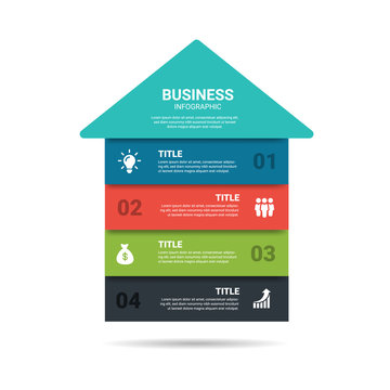 Home Vector illustration of a Global Business house, Development Elements of infographics design