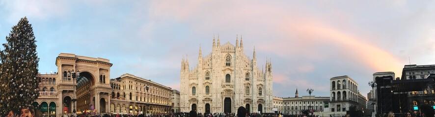 Foto auf Gartenposter Milan Panoramic View Of Piazza Del Duomo Against Cloudy Sky