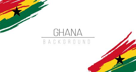 Ghana flag brush style background with stripes. Stock vector illustration isolated on white background.