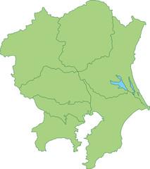 関東地方の地図_都道府県ごとに色を変えられます